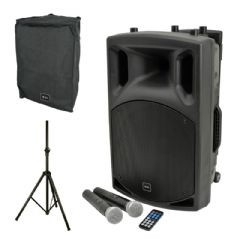 QTX QX12PA Battery + Mains Portable Bluetooth PA Speaker + Mics + Cover + Stand